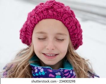 Little Girl Portrait On Winter Day
