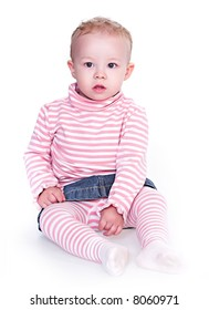 Little girl posing on isolated white background