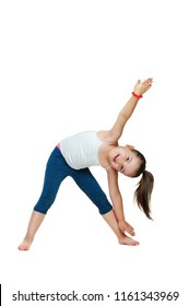 Little girl practicing triangle yoga pose