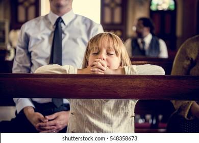 LIttle GIrl Praying Church Believe Faith Religious