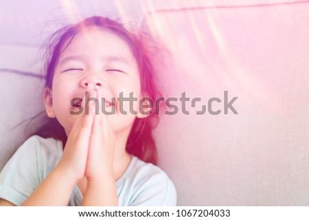 Little Girl Praying Morning Home Little Asian Stock Photo Edit Now