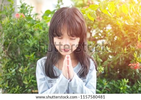 Little Girl Praying Morning Park Little Asian Stock Photo Edit Now