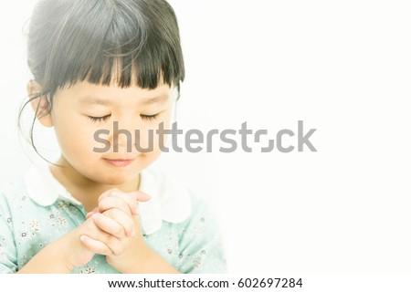 Little Girl Praying Morning Little Asian Girl Stock Photo Edit Now
