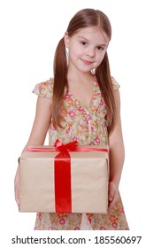 little girl with present box as a gift isolated over white background