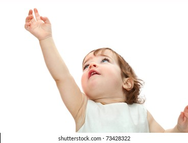 little girl pulling hand up isolated on white background