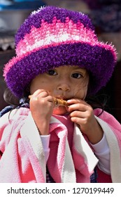A little girl from Quechua people. Zumbagua city. 19th December 2013. Ecuador. South America.
