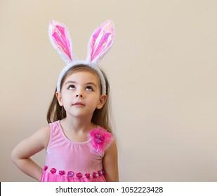 Little girl with rabbit ears