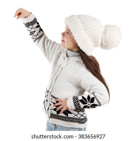Little girl with raised hand in a trendy knitted clothes, isolated on white