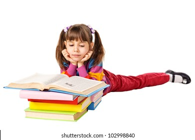 little girl reading a book on the floor. Isolated on white background