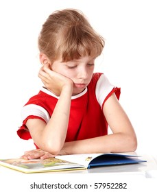 Little girl reading book on white isolated.