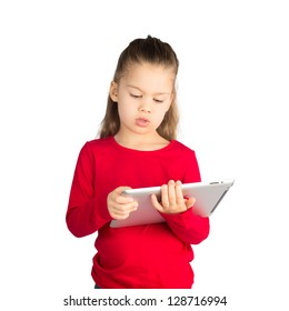 Little Girl Reading from Tablet Computer, Isolated on White