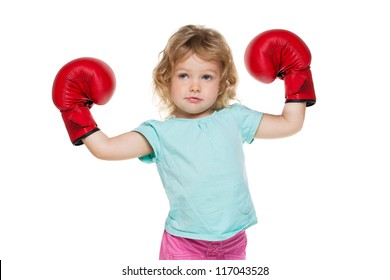 Little girl with red boxing gloves