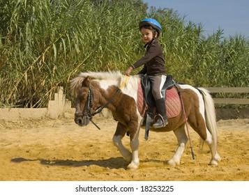 little girl riding a miniature shetland pony