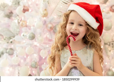 little girl in santa hat eating a lollipop candy cane on the background of white and pink Christmas tree. sweet new year gift for child.  happy childhood. copy space, text