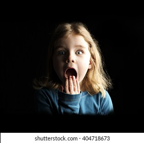 A little girl scared and shocked