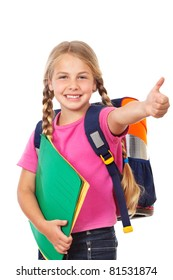 little girl with schoolbag holding thumb up and smiling