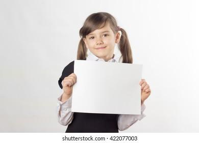 little girl, schoolgirl, two ponytail, school dress, white shirt