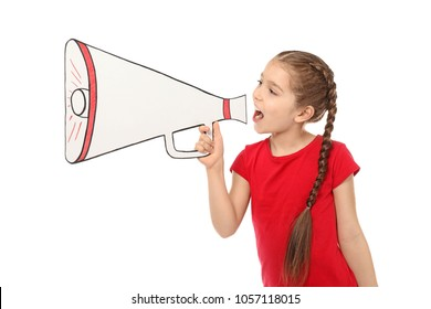 Little girl shouting into paper megaphone on white background