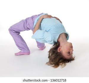 little girl showing  exercise bridge