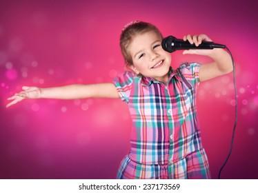 Little girl sings