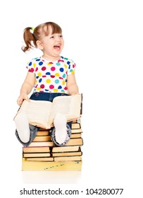 little girl sitting on a pile of books isolated