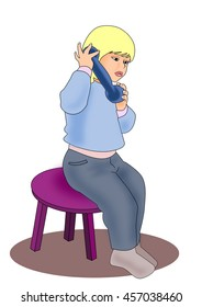 A little girl sitting and talking on a toy telephone.