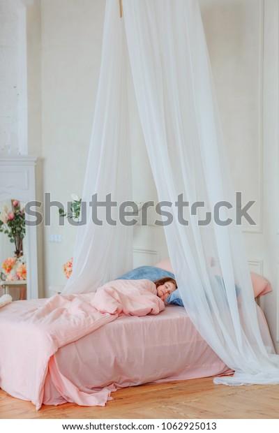 Little Girl Sleeping Bed Canopy Bedroom Stock Photo (Edit ...