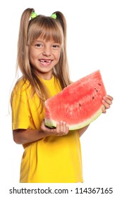 Little girl with slice of watermelon isolated on white background