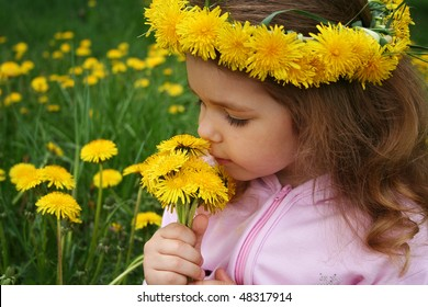 Little girl smells a bouquet from dandelions