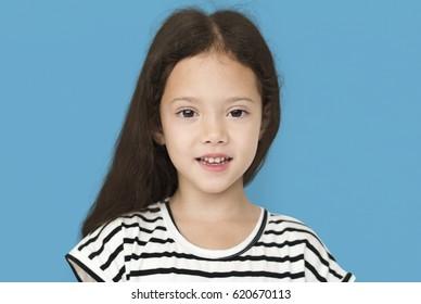 Little Girl Smile Face Expression Studio Portrait