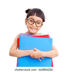 Little girl smile and holding  folders isolated on white background