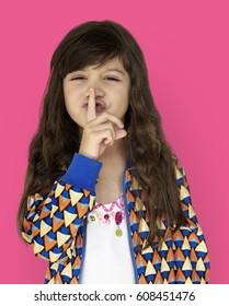 Little Girl Smiling Happiness Quiet Shut Up Secret Shh Portrait
