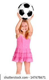 little girl with soccer ball isolated in white