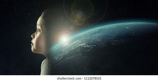 A little girl in the space