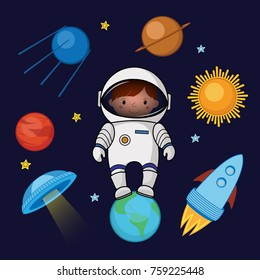 Little girl spaceman in space, rocket satellite UFO planets stars, cartoon illustration isolated on dark background. Little girl, kid spaceman in space, shuttle, satellite, planets, stars