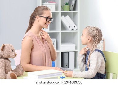 Little girl at speech therapist office
