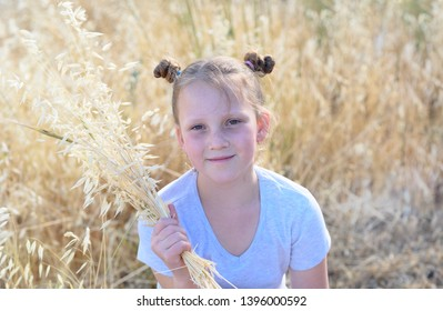 Little girl with spikes of wheat and ears of oats during the Jewish holiday, Shavuot in Israel.