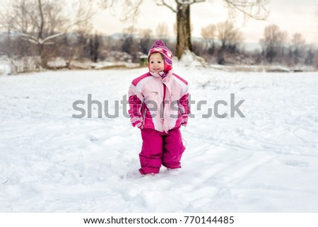 404b99aaaf Little Girl Standing Snow Wearing Pink Stock Photo (Edit Now ...