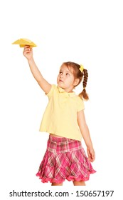 Little girl start up hand made paper plane, ready for your text, logo or symbols. Isolated on white background.