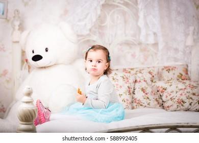 little girl in the studio