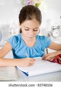 little girl studying