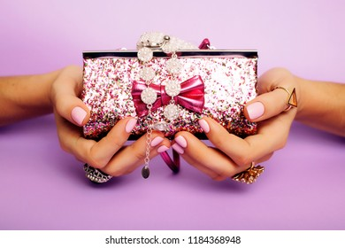 little girl stuff for princess, woman hands holding small cute h