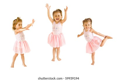 The little girl in a suit of the ballerina