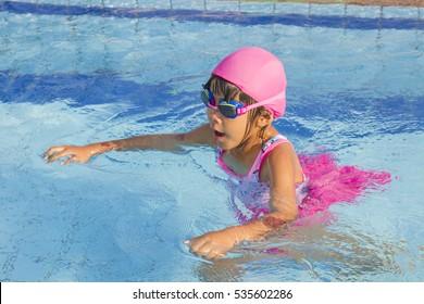 little girl Swimming lessons