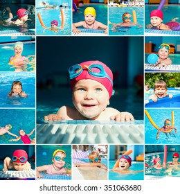 Little girl in a swimming pool collection