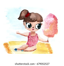 Little girl in swimsuit with candy cotton. Hand drawn watercolor illustration. Summer seasonal card. Kids and children theme