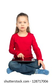 Little Girl with Tablet Computer Sitting with her Legs Crossed, Isolated on White