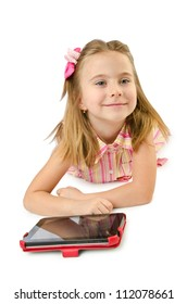 Little girl with tablet on white