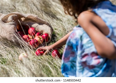 Little girl taking an apple from the grass