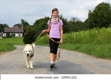 Little girl taking a dog for a walk outdoors in nature
